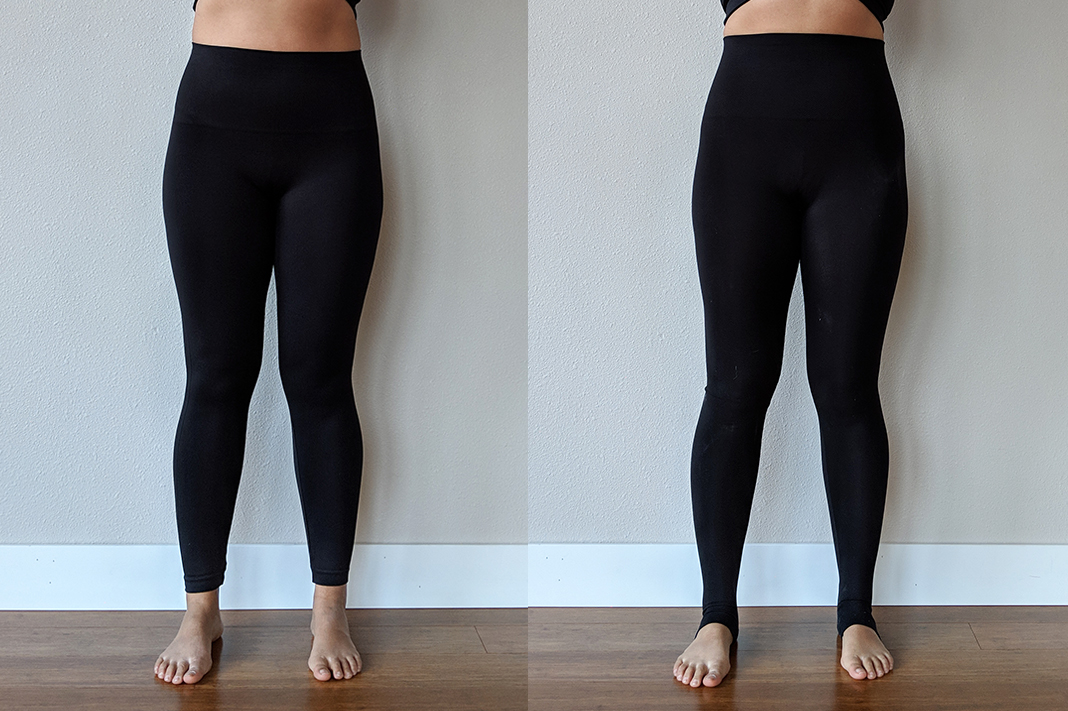 spanx vs spanx assets review seamless leggings black schimiggy reviews front