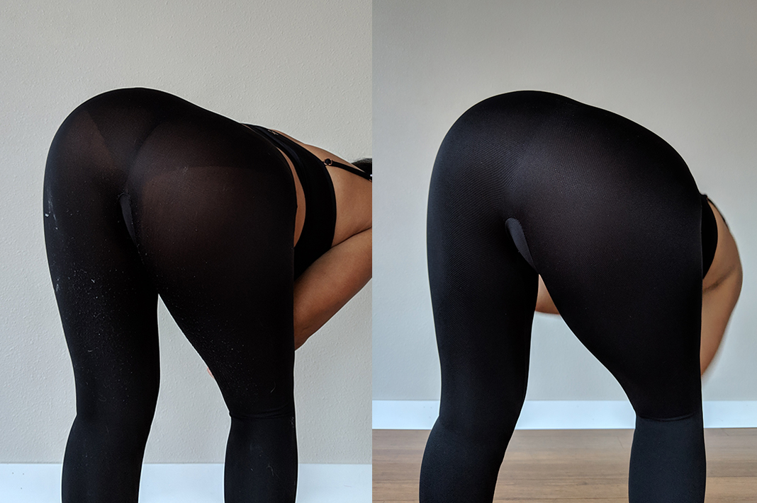 spanx vs spanx assets seamless leggings bend test schimiggy reviews