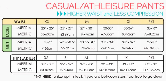 eagle rock werkshop athleisure size chart