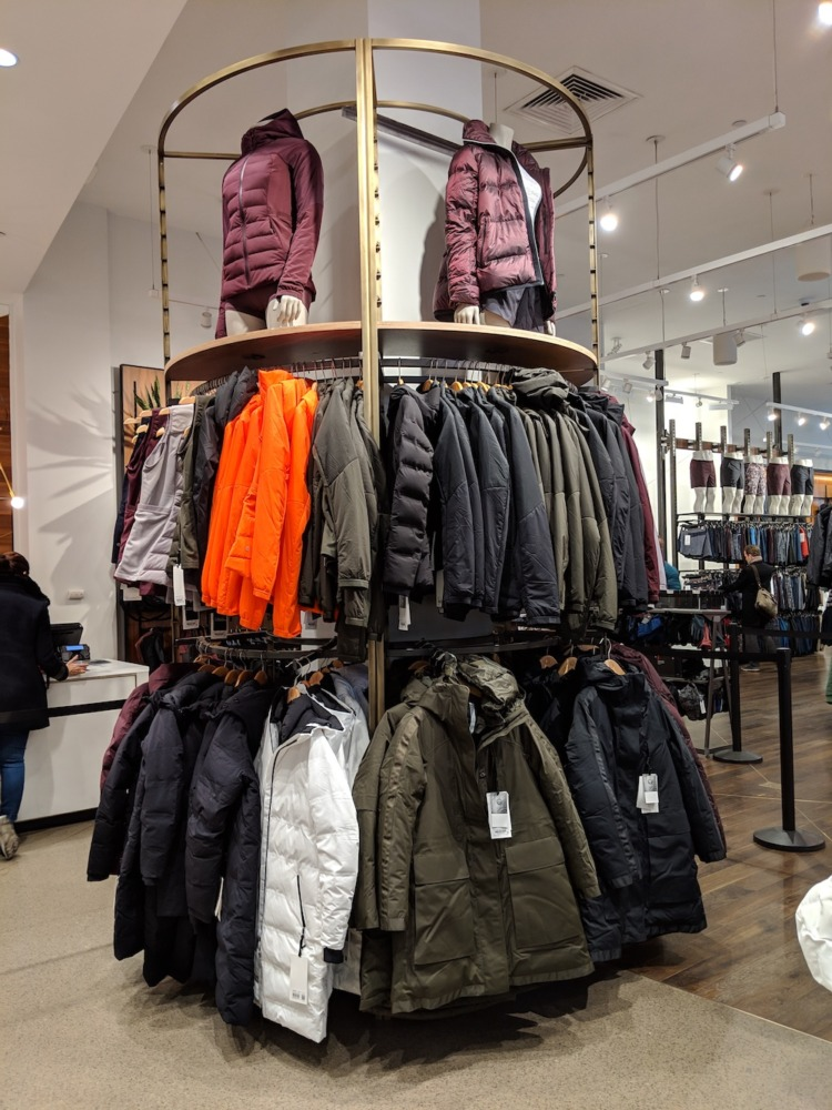lululemon flagship new york store fashion district 2018 outerwear display