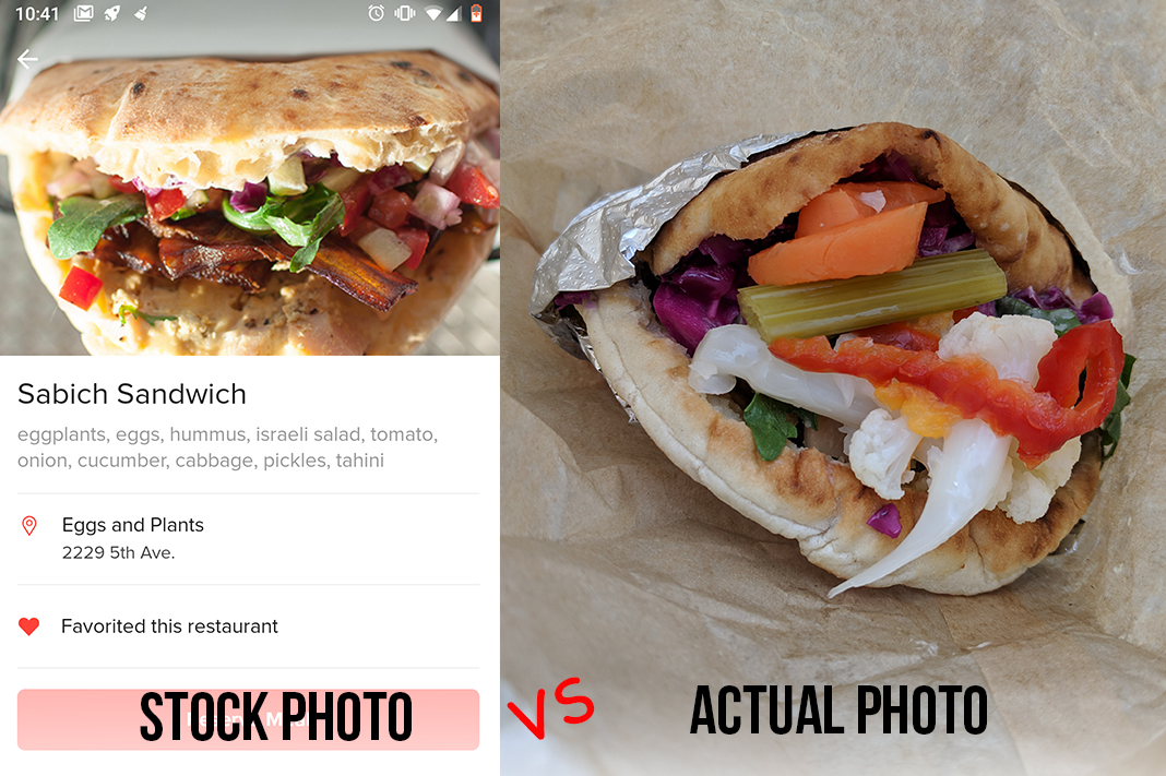eggs and plants sabich sandwich mealpal lunch example actual vs stock photo