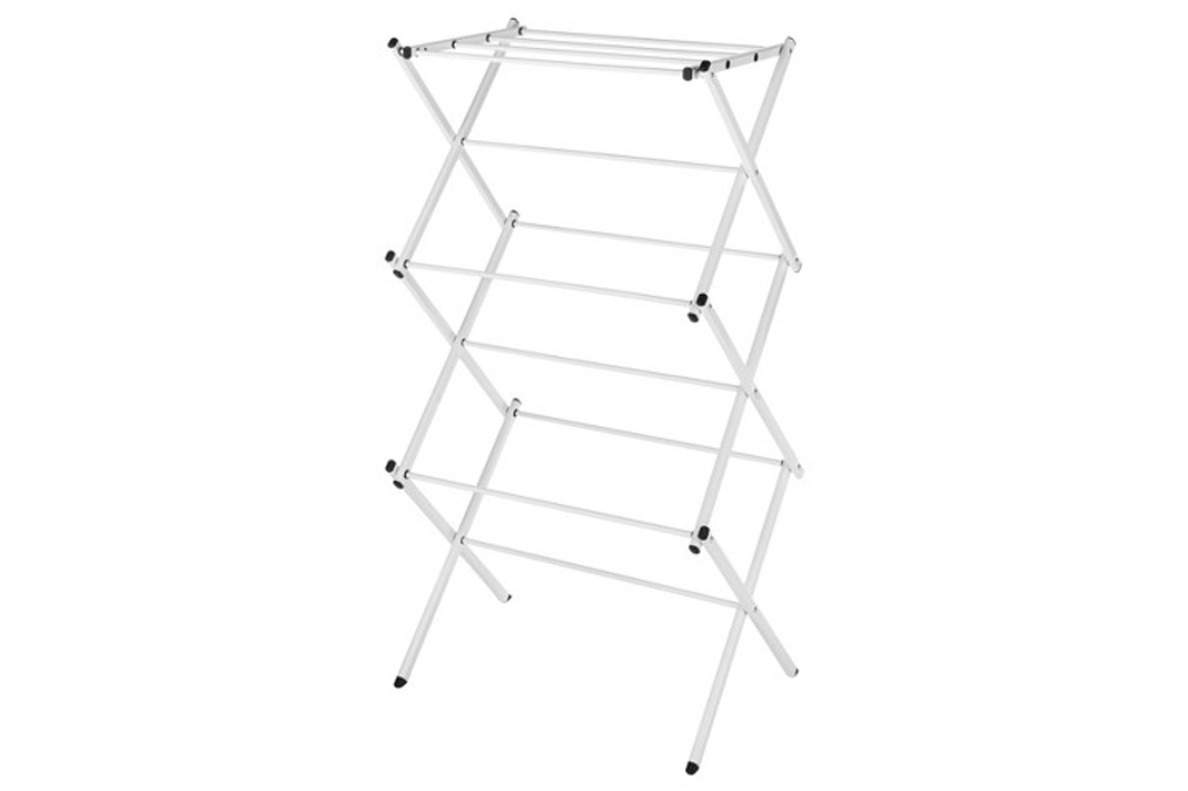 how to care for activewear clothing drying rack white
