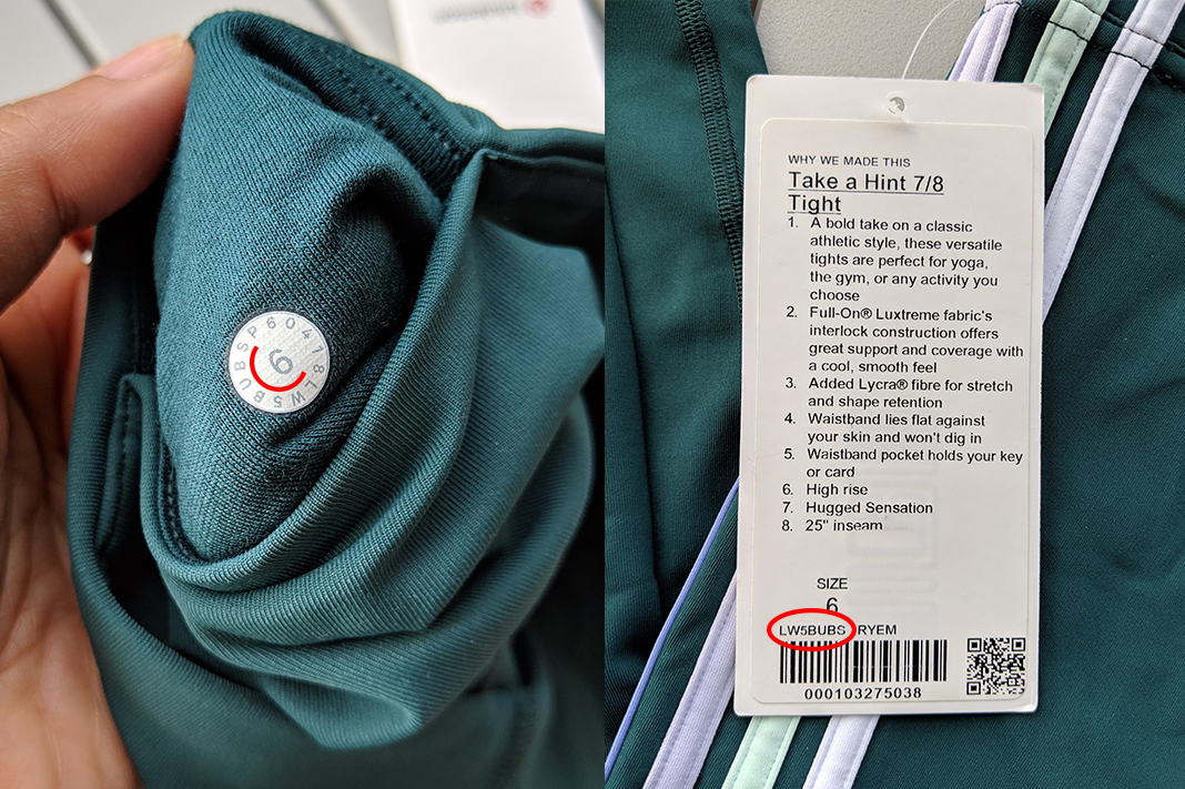 lululemon take a hint tight RYEM green stripe how to read size dot code around number meaning