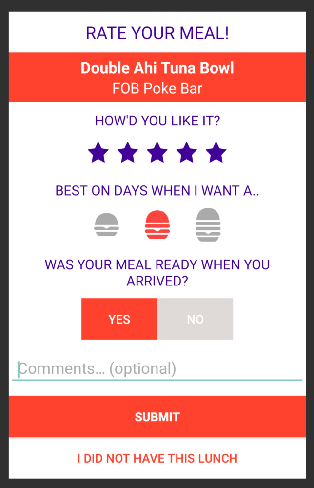 MealPal Satisfaction survey post meal