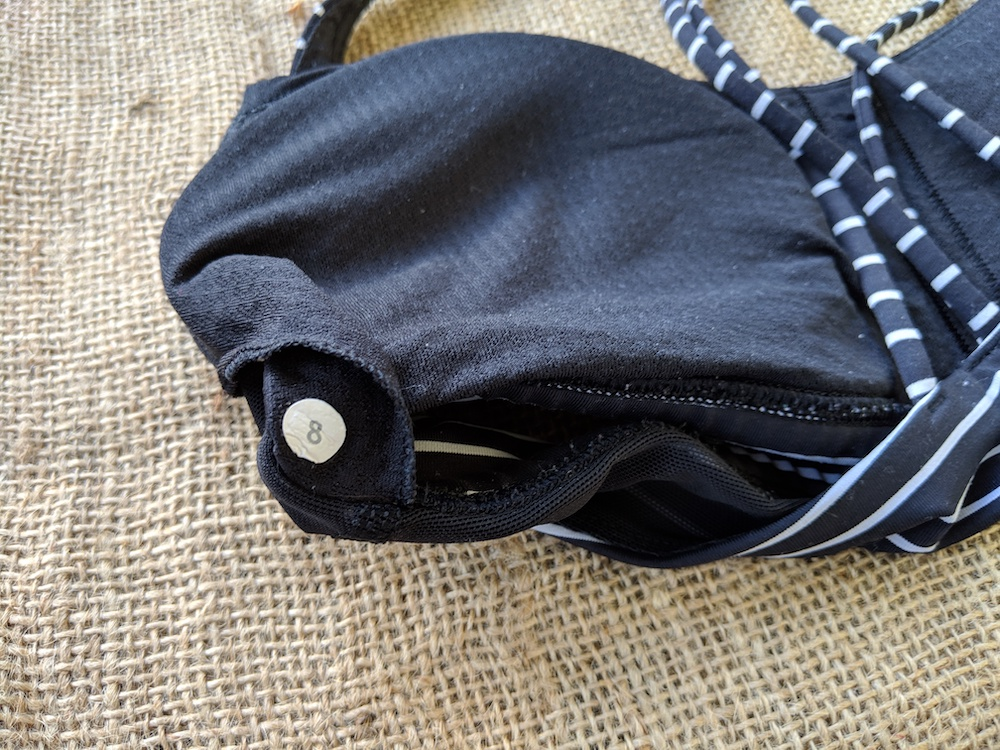 where to find lululemon size dot free to be sports bra parallel stripe inner bra pocket