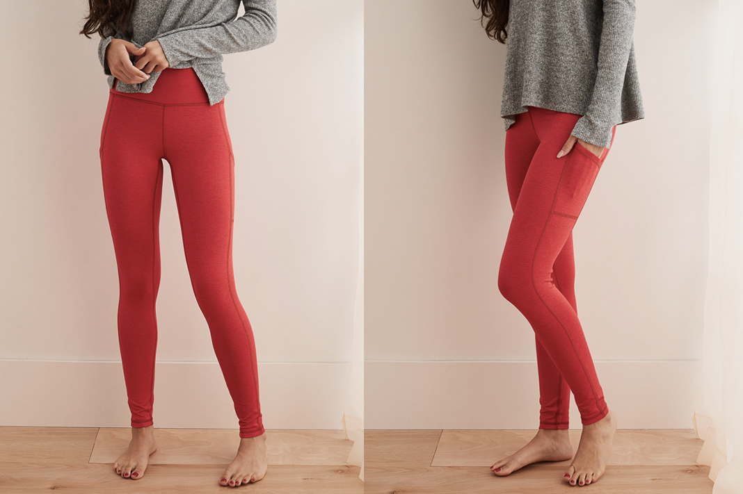 aerie play high waisted pocket leggings scarlet red schimiggy reviews