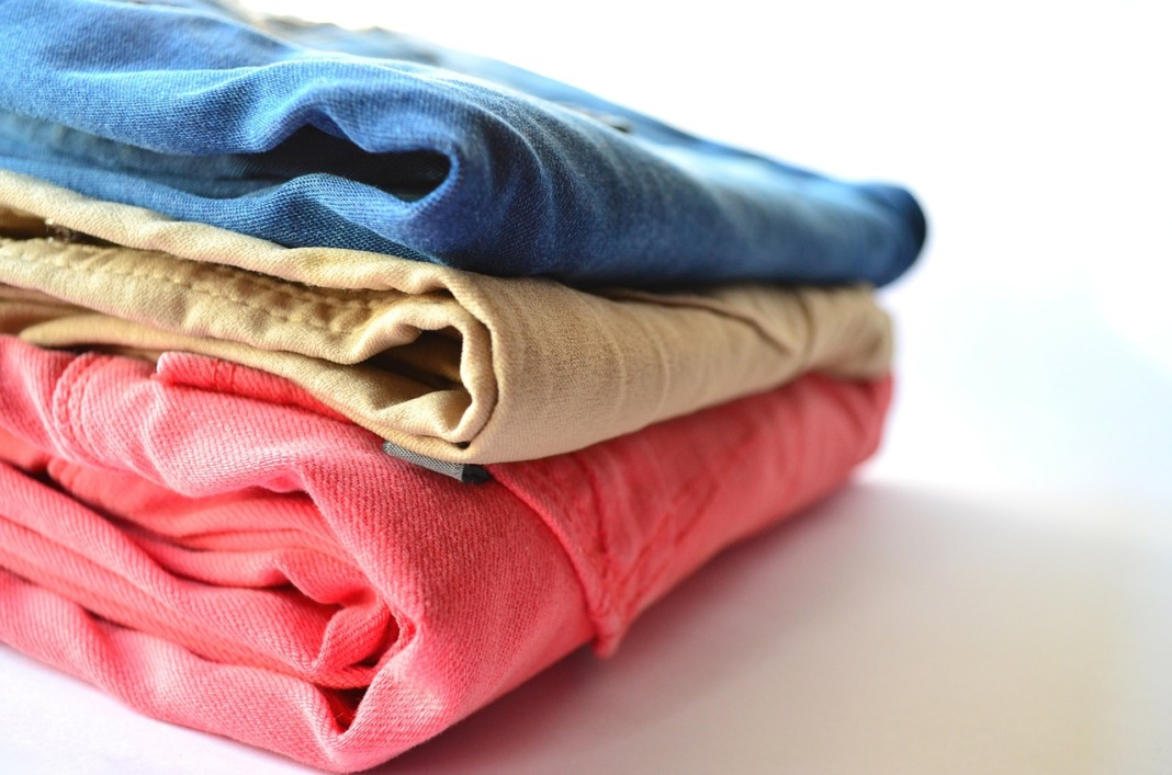 clothes folded thick fabric wash with like colors