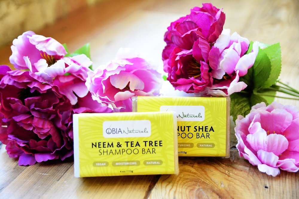 obia naturals shampoo bars with coconut shae butter and neem and tea ree oil