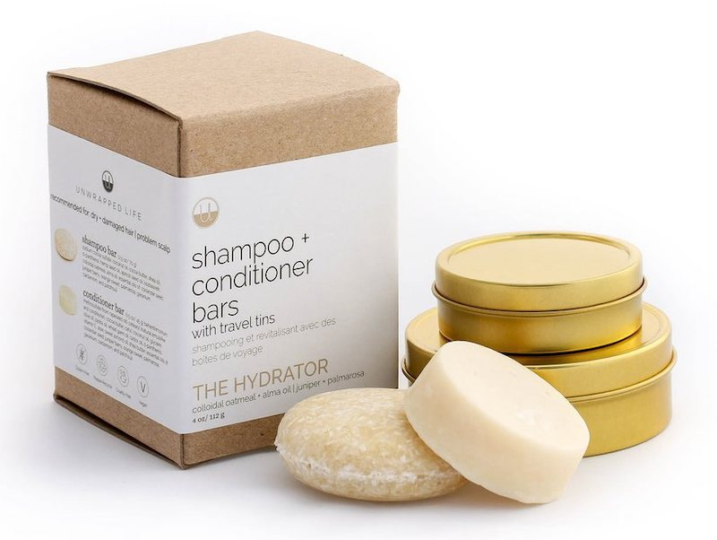 unwrapped life hydrator shampoo and conditioner bar with travel tins