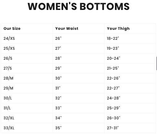 barbell apparel size chart womens bottoms
