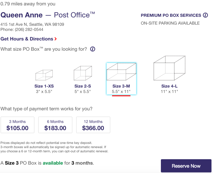 usps po box sizes and cost