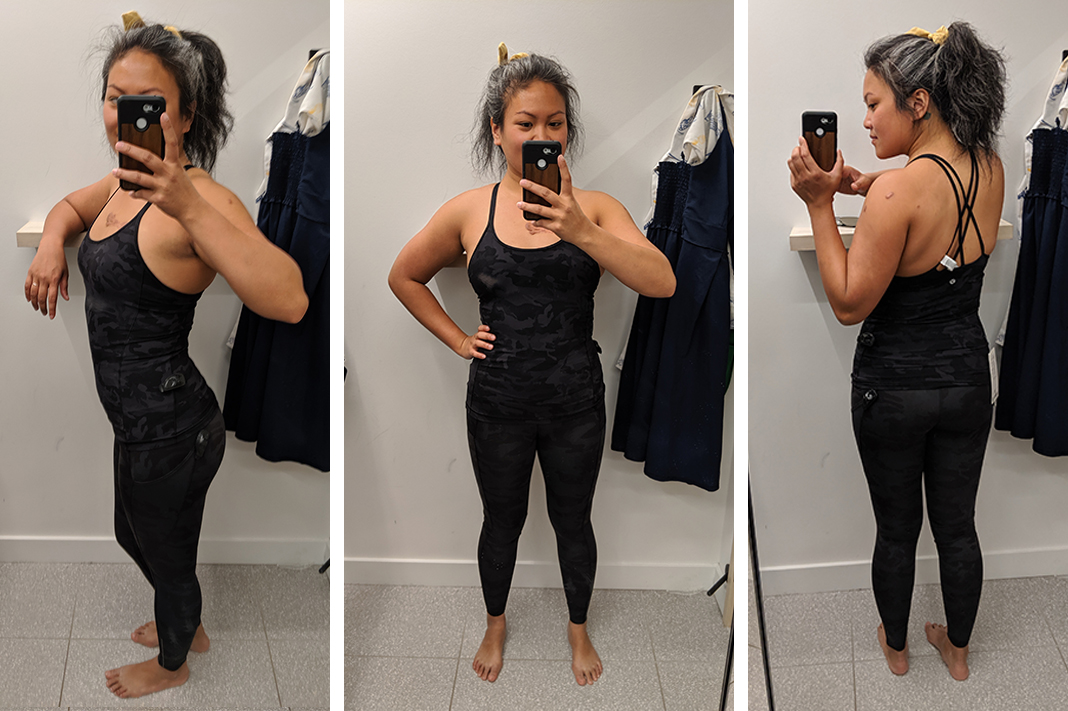 lululemon fast and free tight try on incognito multi grey schimiggy reviews