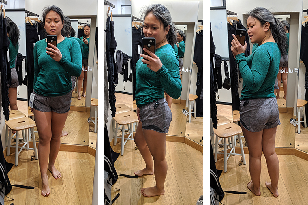 lululemon fitting room try on hotty hot short schimiggy reviews
