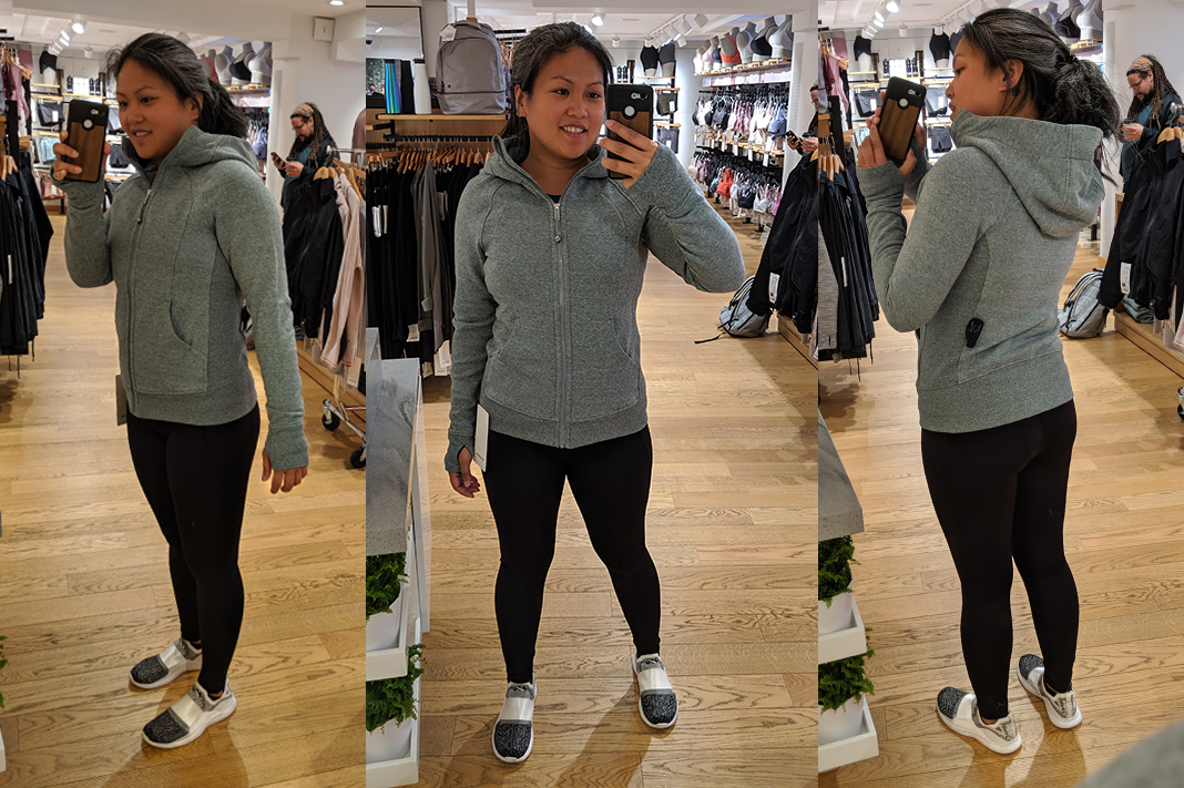 lululemon fitting room try on scuba hoodie iv schimiggy reviews