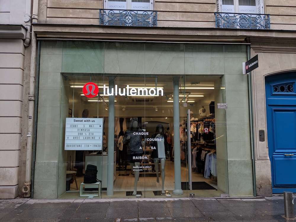 lululemon in france saint honore store front