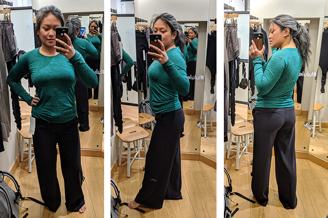 lululemon on the fly wide legged pant try on review