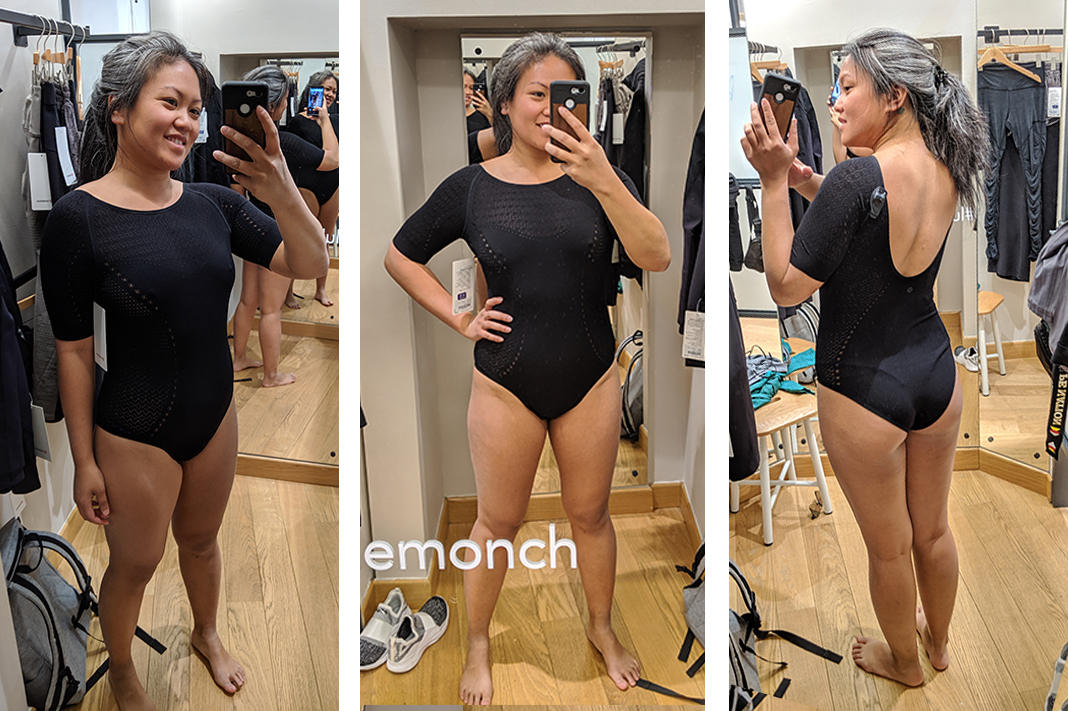 lululemon reveal bodysuit review try on fitting room schimiggy