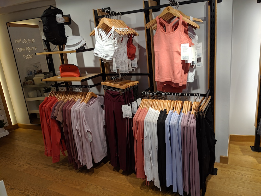 lululemon store in zürich switzerland womens display pastel colors