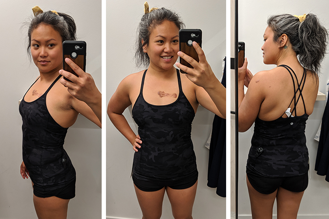 lululemon try on free to be tank top in nulu fabric ICMG schimiggy reviews
