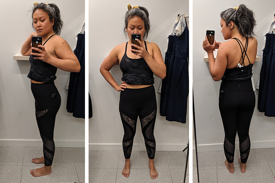 lululemon wunder under tight with lace in black try on schimiggy reviews