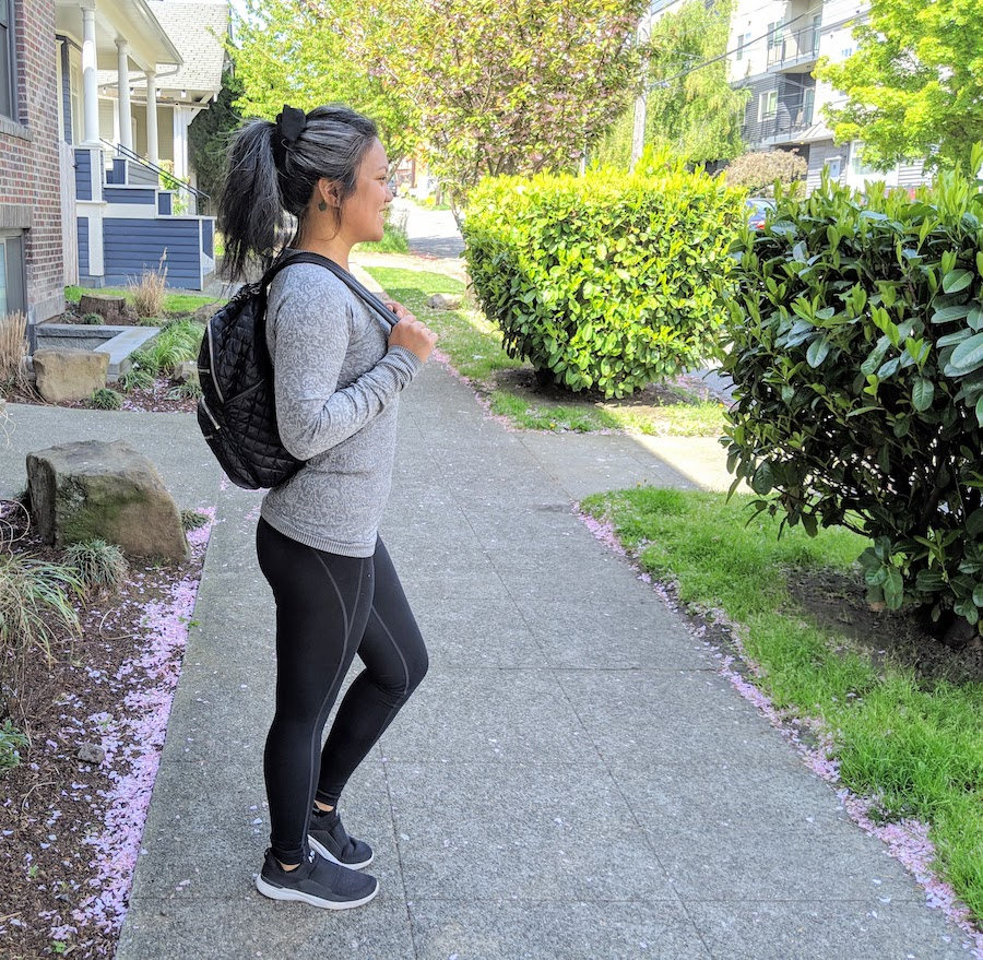 mz wallace crosby backpack review alex wearing backpack side profile