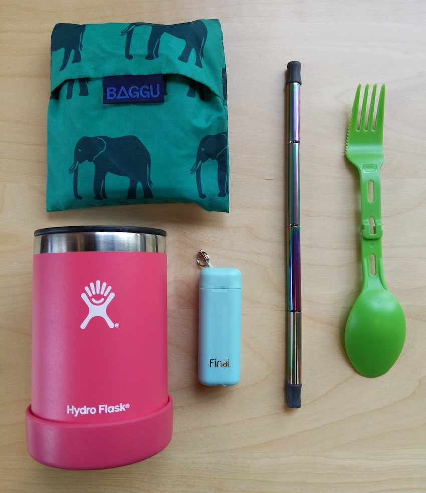 sustainable zero waste travel kit cup spoon fork straw bag