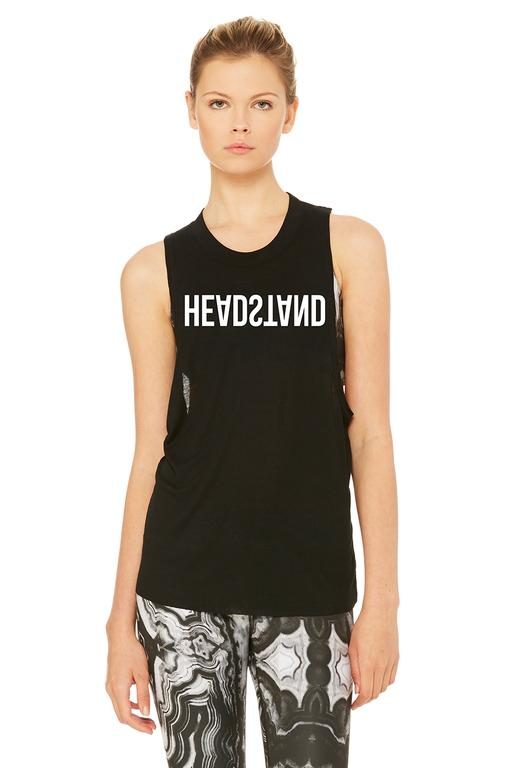 alo yoga heat wave headstand tank top black white