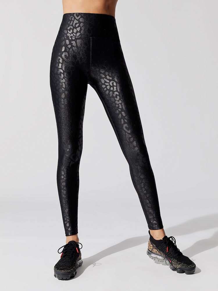 carbon38 takara leopard high waist leggings black front