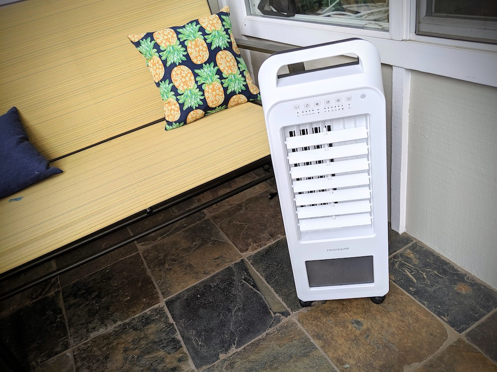 frigidaire evaporative cooler and fan in patio