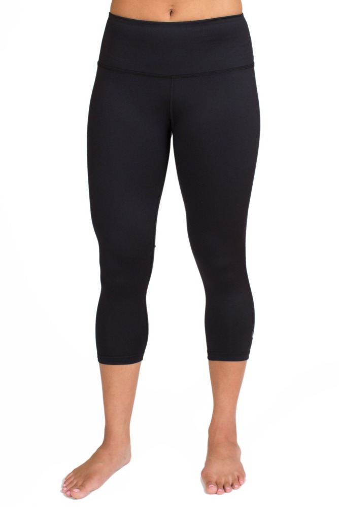 inner fire solid black capri crop leggings