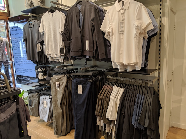 lululemon amsterdam store and product photos mens tops and slacks wall
