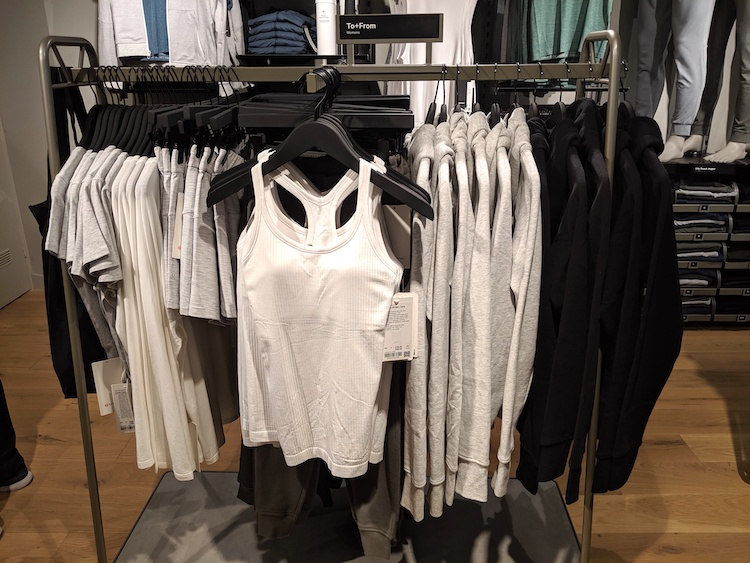 lululemon amsterdam store and product photos white and black womens rack