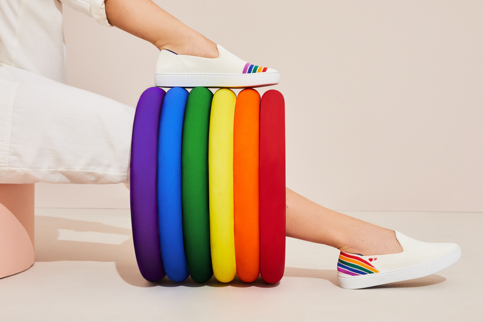 Rothy's rainbow sneakers sf pride month lgbtq