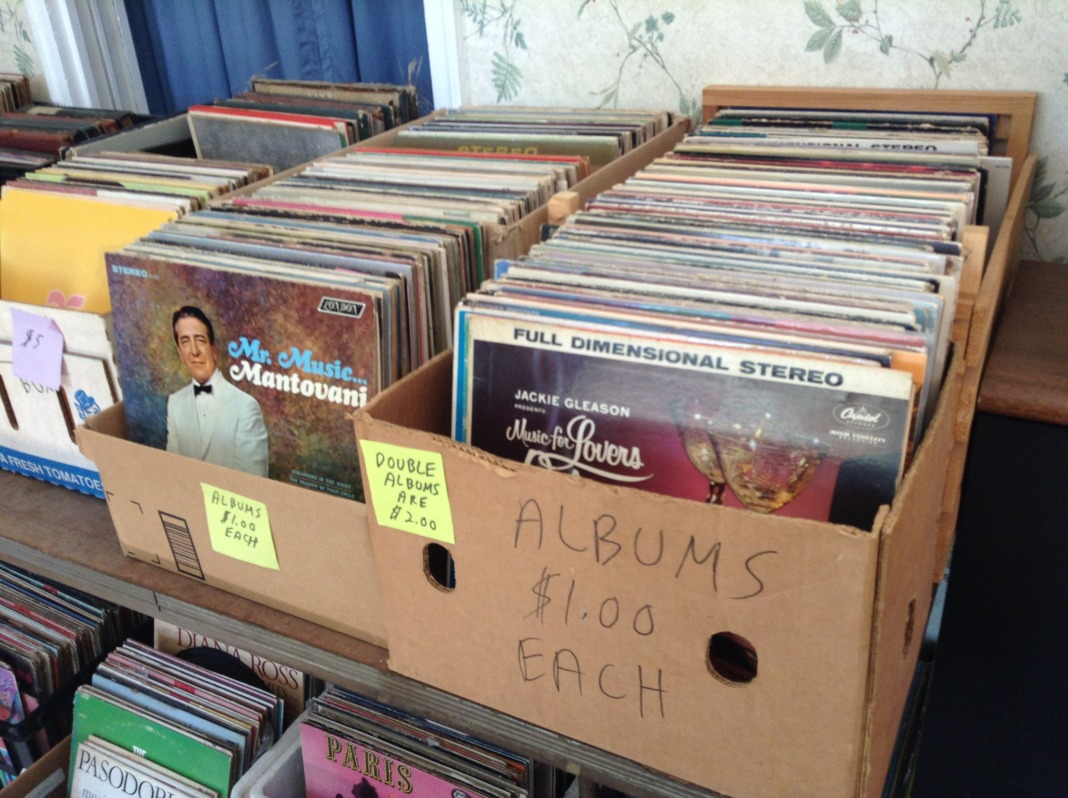 sell old records at a garage sale