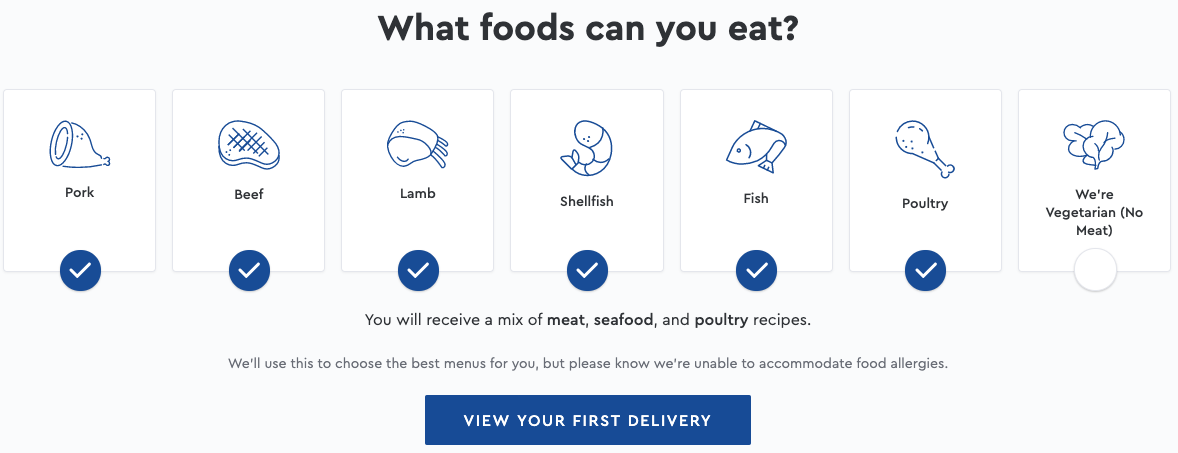 Blue Apron Meal Delivery dietary restrictions