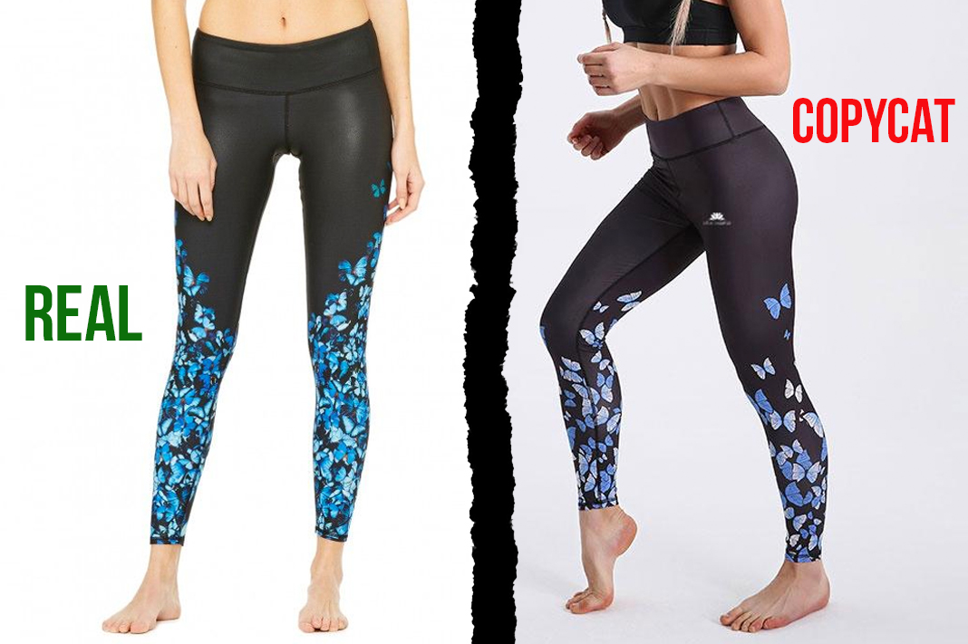 alo yoga vs lotus leggings blue butterfly print tights counterfeit copycat activewear