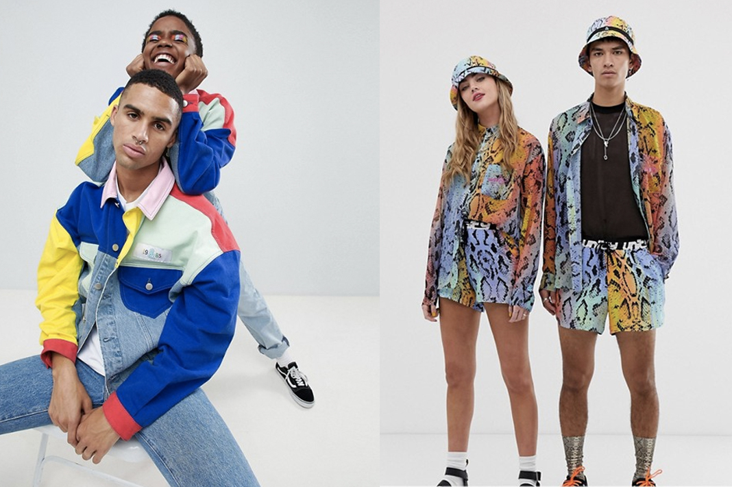 asos and glaadx pride collection unisex rainbow clothing