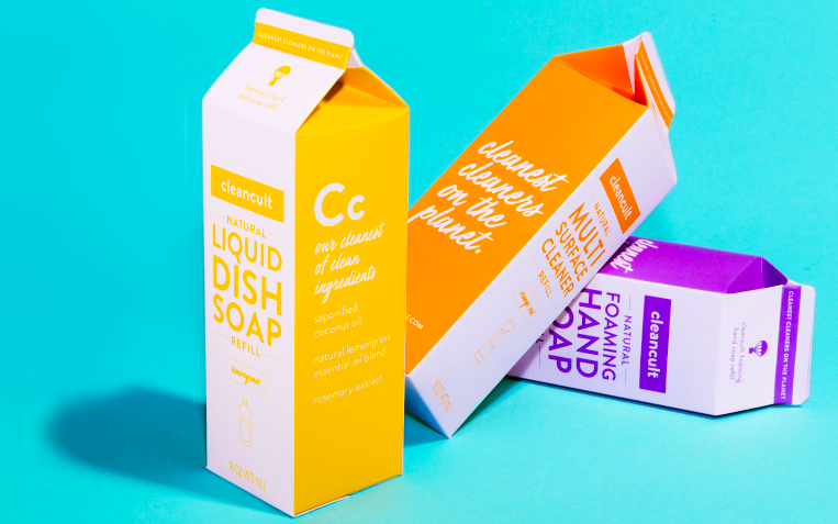 cleancult refill househole products in compostable paper milk cartons