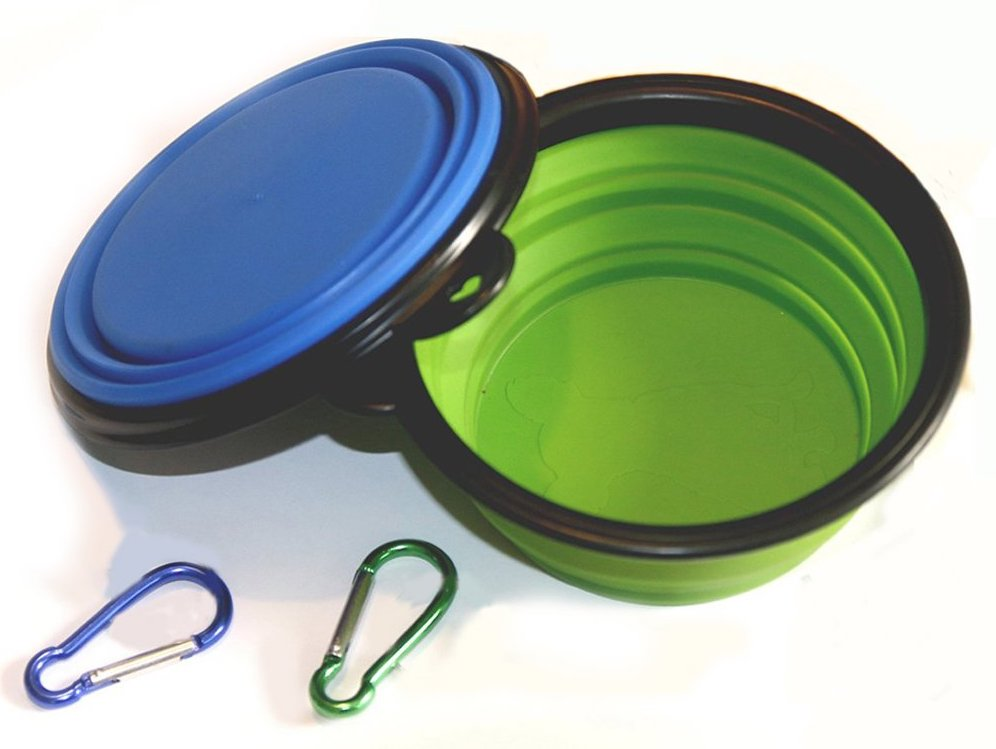 collapsible silicone dog and cat food and water bowl