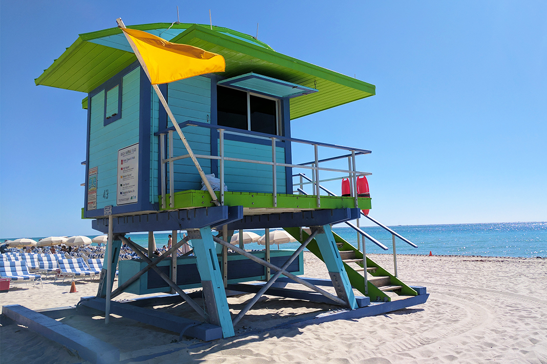 colorful miami beach lifeguard tower