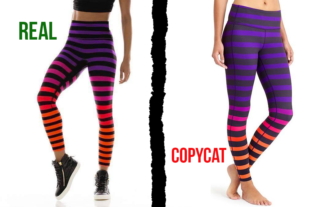 k-deer vs athleta sophia signature stripe leggings dupe copycat activewear
