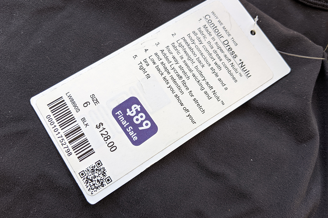 lululemon markdown tag purple sticker