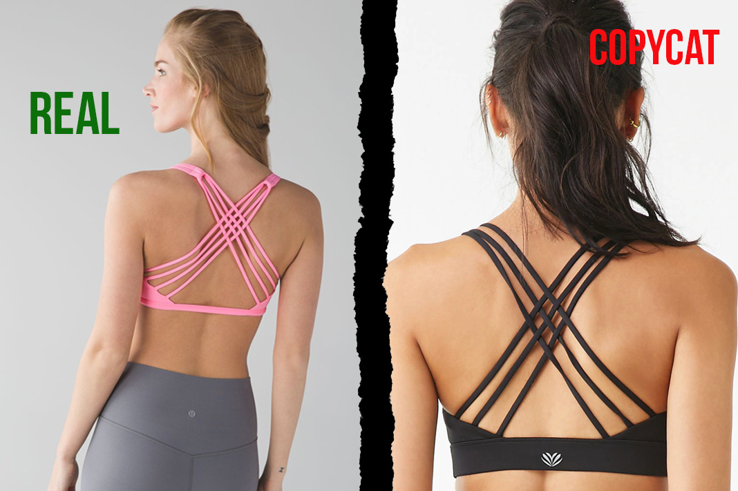 lululemon vs forever21 free to be wild strappy back sports bra dupe copycat activewear