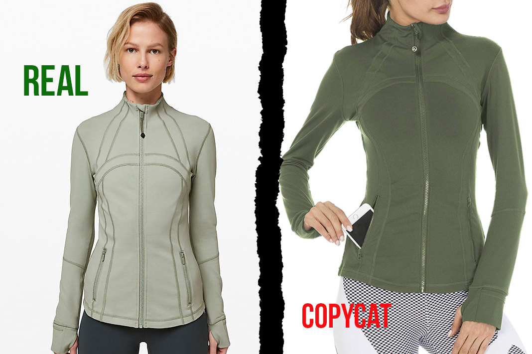 lululemon vs queenie ke define jacket counterfeit dupe