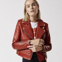 mackage baya crop moto jacket in red front