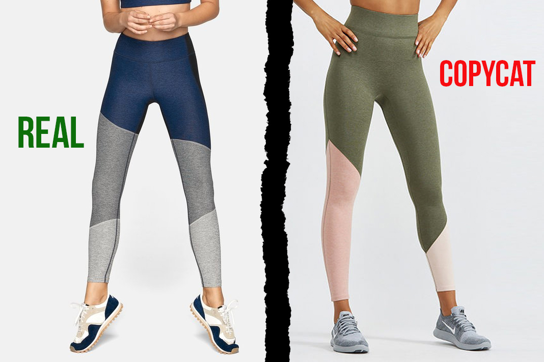 outdoor voices vs bandier heathered colorblock leggings dupe