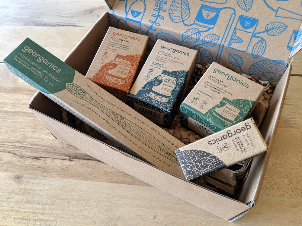 georganics sustainable zero waste dental products in package recycled box