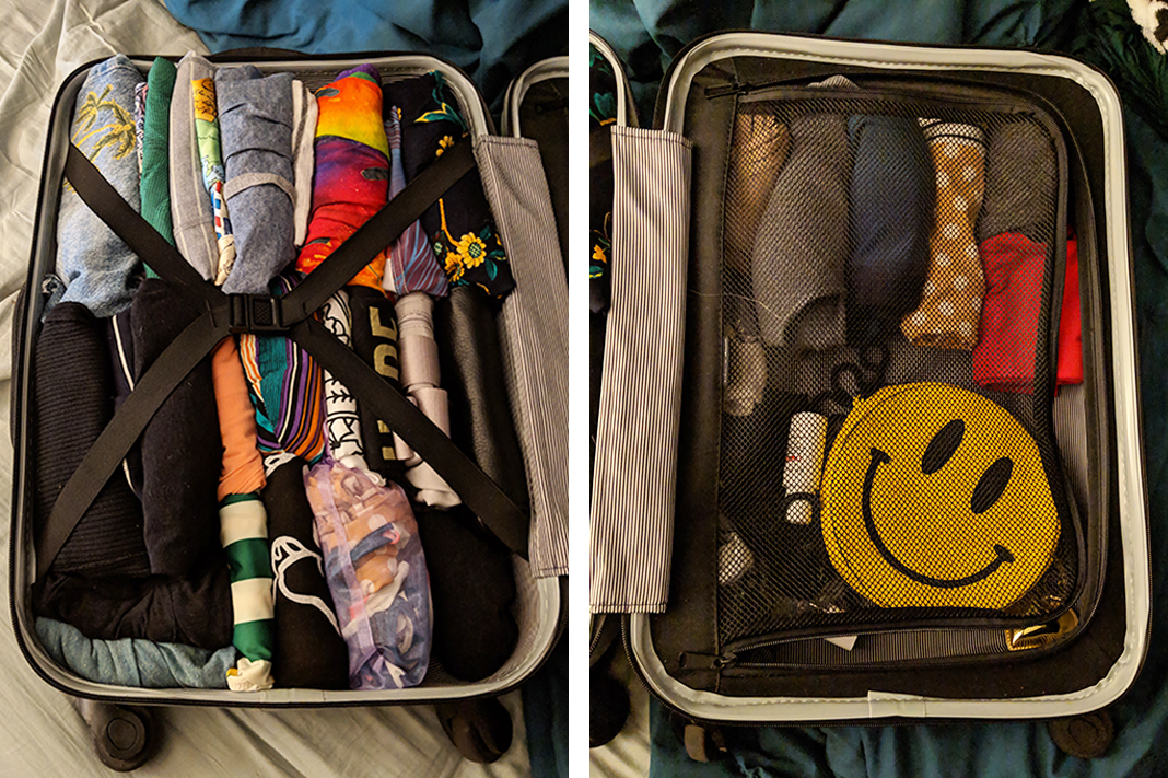 konmari method minimalist travel packing in carry-on to hawaii 10 day trip