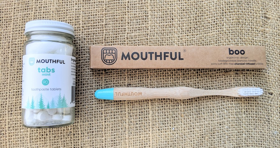 mouthful sustainable zero waste toothpaste tablets and bamboo toothbrushes