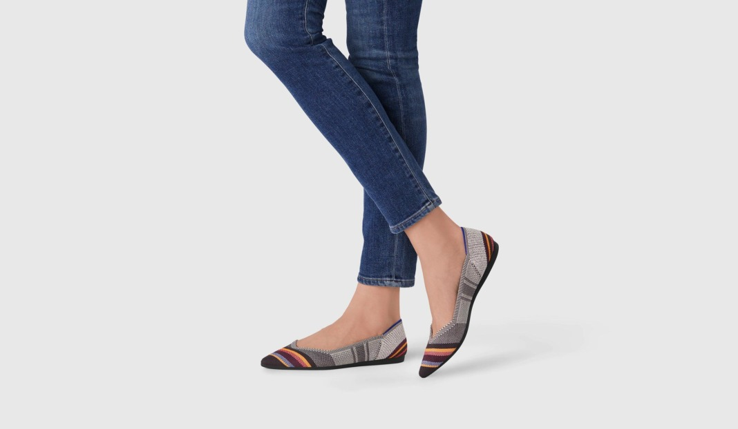 rothys inverse stripe point flat shoes